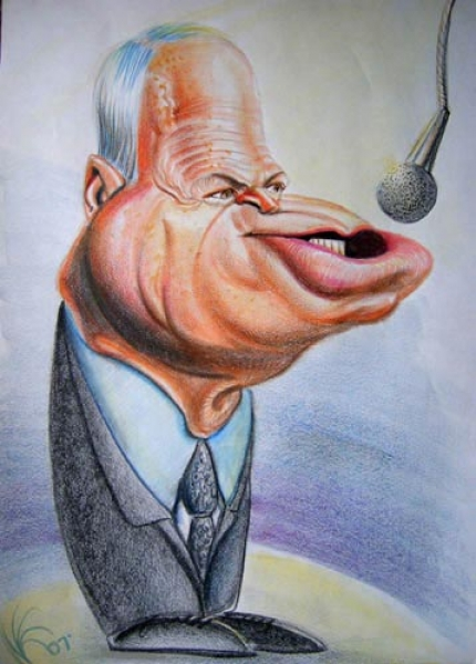 Studio caricature by Nate Kapnicky of John McCain