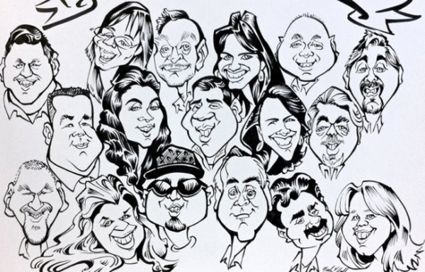 Mark Hall Party Caricature