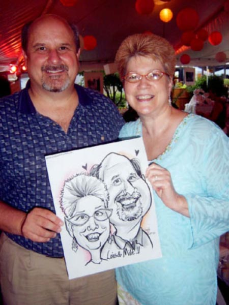 Party caricature by Emily Anthony