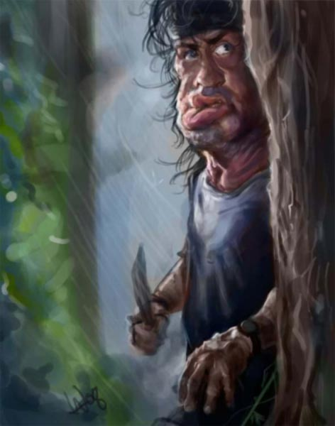 Rambo caricature by William Appledorn