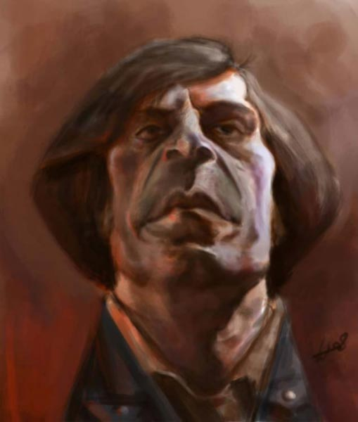 Javier Bardem caricature by William Appledorn