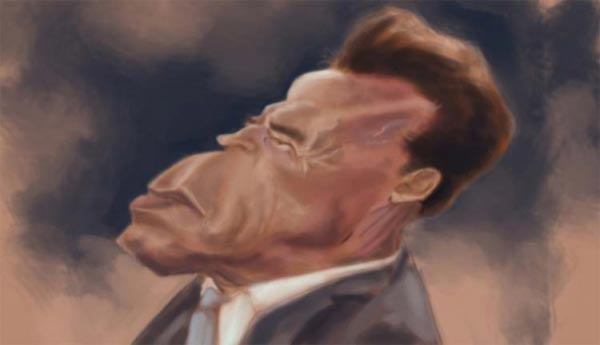 Arnold Schwarzenegger caricature by William Appledorn