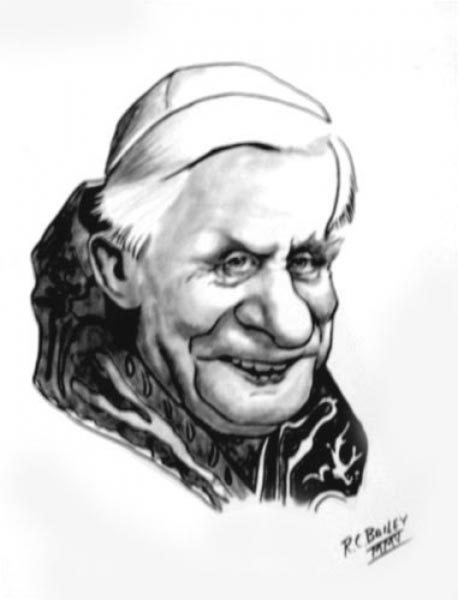 Pope Benedict XVI caricature by R.C. Bailey