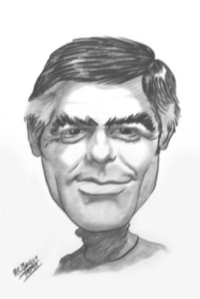 George Clooney caricature by R.C. Bailey