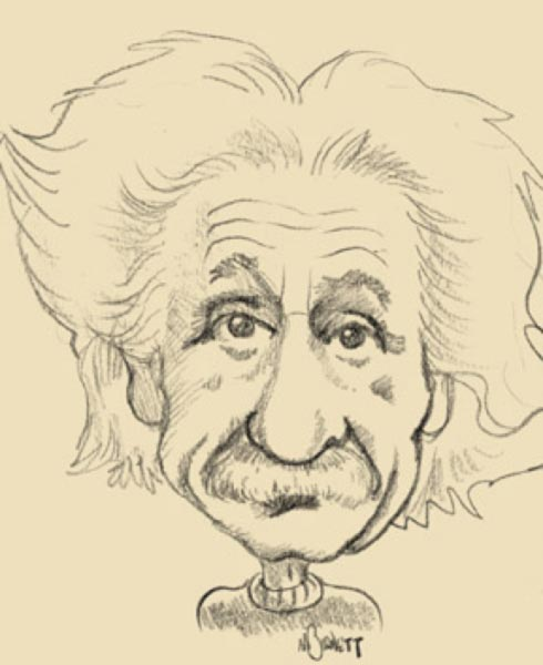 Albert Einstein caricature by Mike Barnett