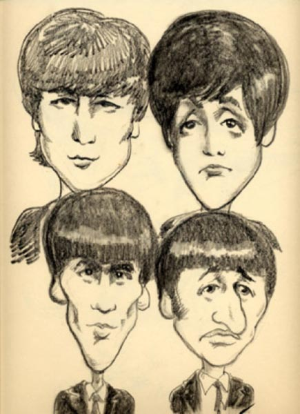 Beatles caricature caricature by Mike Barnett
