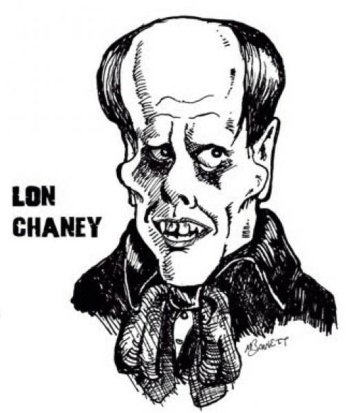 Lon Chaney caricature by Mike Barnett