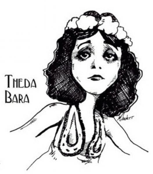 Theda Bara caricature by Mike Barnett