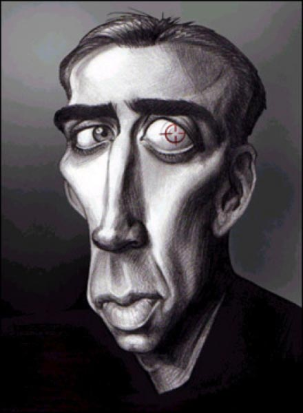 Joe Bluhm Studio Caricature of Nicolas Cage