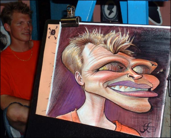 Studio caricature by Joe Bluhm