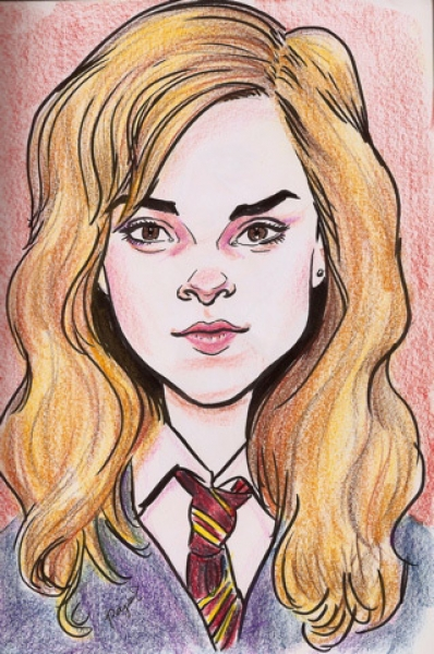 Victor Payes Studio Caricature of Hermione from Harry Potter