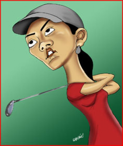 Grant Pominville Studio Caricature of golfer Wie