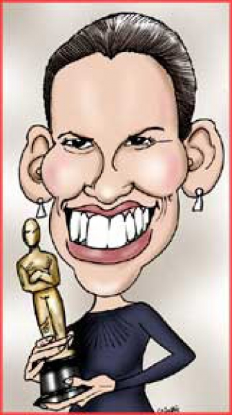 Grant Pominville Studio Caricature of Hillary Swank
