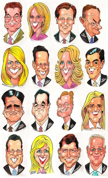 Jerry Dowling Studio Caricature of Fox News team