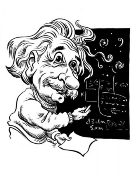 Albert Einstein caricature by Tom Chalkley