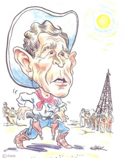 George W Bush caricature by Tom Chalkley