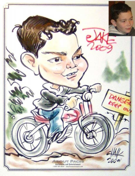 Party caricature by Tom Chalkley