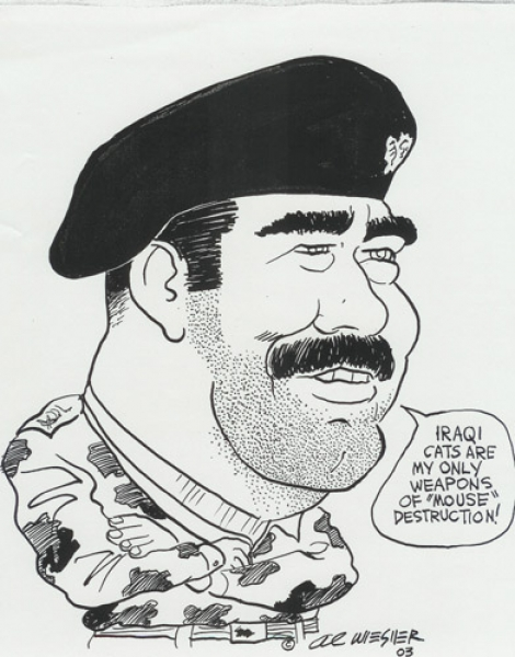 Al Wiesner Studio Caricature of Saddam Hussein