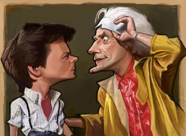 William Appledorn Studio Caricature of Michael J. Fox and Christopher Lloyd