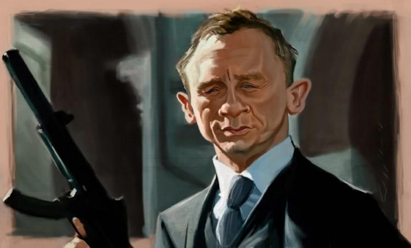 William Appledorn Studio Caricature of Daniel Craig