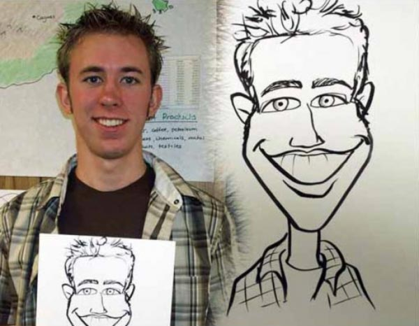 Party caricature by Dan Laib
