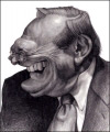 Joe Bluhm Studio Caricature of Donald Rumsfield