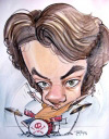 Party caricature by Joe Bluhm
