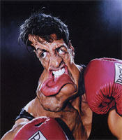 caricature of Sylvester Stallone by Sebastian Kruger