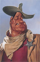 caricature of John Wayne by Sebastian Kruger