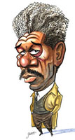 Morgan Freeman caricature by Paul Gaunt