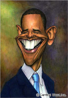caricature of Barack Obama by caricature artist Kage Nakanishi