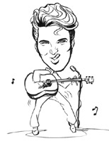black and white caricature of elvis presley by dominic arneson