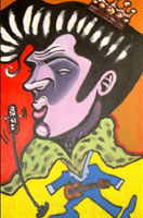 color caricature of elvis presley by maria bolton