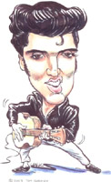 elvis presley caricature by  tom chalkley