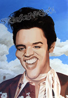 elvis presley caricature by  neil davies