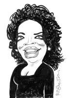 caricature by gerry rasmussen of oprah winfrey