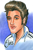 color <p>caricature by  philip herman of elvis presley