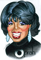 color caricature by philip herman of oprah winfrey