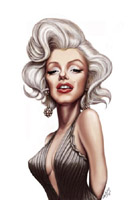 marilyn monroe caricature by mick hollinworth