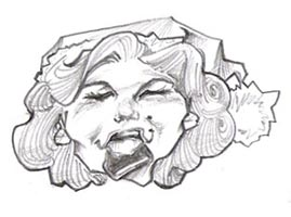 black and white caricature of marilyn monroe by marc hubbard