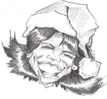 black and white caricature of ophrah whinfrey by marc hubbard