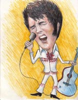 <p>caricature by  jill frazier of elvis presley