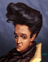 celebrity caricature by  jim hopkins of elvis presley