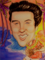 studio <p>caricature by  jimmy valentine of elvis presley