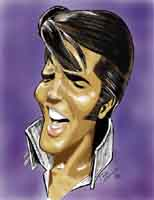 color caricature of elvis presley by ron kantrowitz