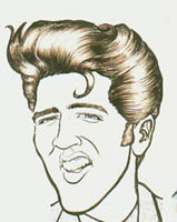 black and white caricature of elvis presley by sam klemke