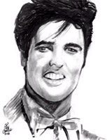 elvis presley caricature by  ken crouse