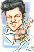 color caricature of elvis presley by kristen heise