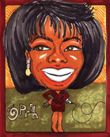 color caricature of oprah winfrey by liane leblanc