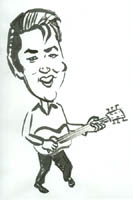 black and white caricature of elvis presley by stoyan lechtevski